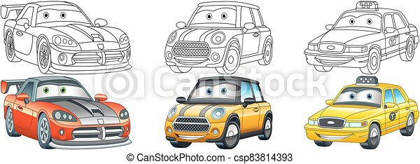 Coloring Page Set With Cars For Kids Coloring Pages Cars Collection Cartoon Clipart Set For Activity Coloring Book Canstock