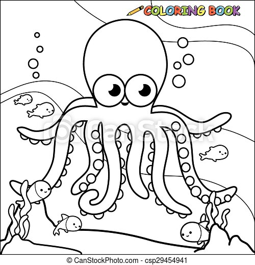 Coloring page underwater octopus Vector illustration of a