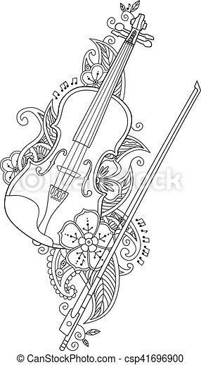 Coloring Page Violin And Bow With Flowers Leafs In