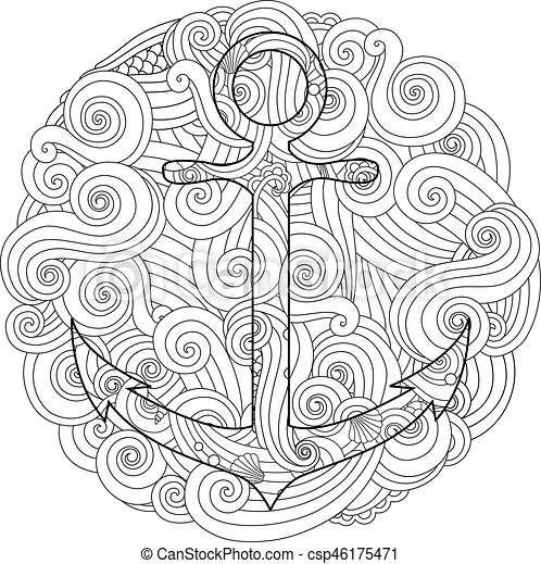Coloring page with anchor in wave mandala. Zentangle inspired doodle style.