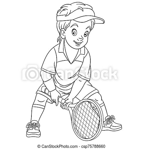 coloring page with boy tennis coloring page