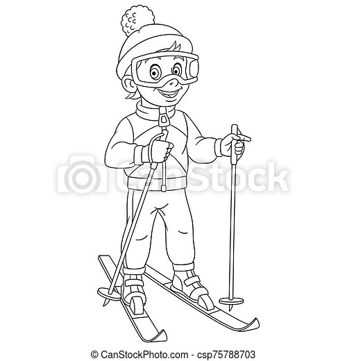 coloring page with boy skiing - csp75788703