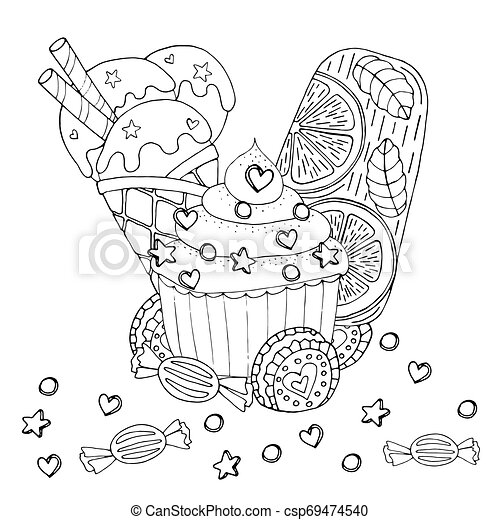 Wrapped Candy Coloring Page • FREE Printable PDF from PrimaryGames | 470x450