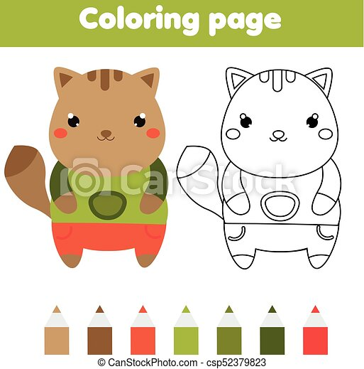 photograph relating to Printable Kids Game referred to as Coloring web page with cat. Drawing children video game. Printable recreation