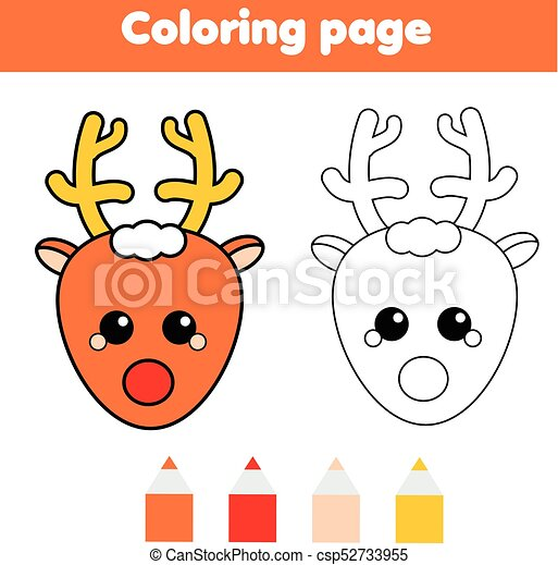 Coloring Page With Christmas Deer Drawing Kids Game Printable Activity