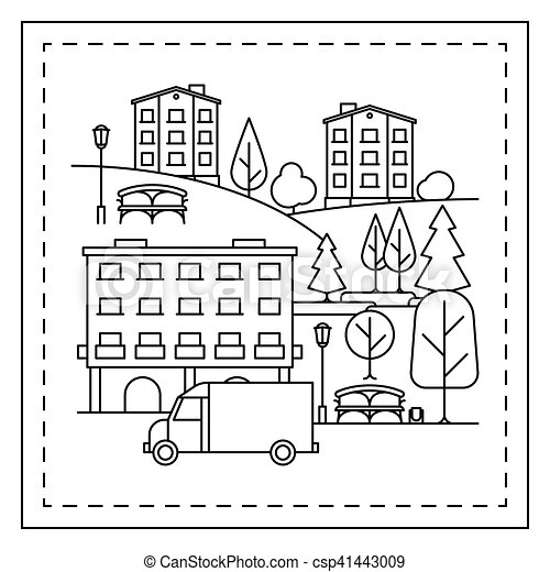 coloring page with city landscape coloring page for kids. Black Bedroom Furniture Sets. Home Design Ideas