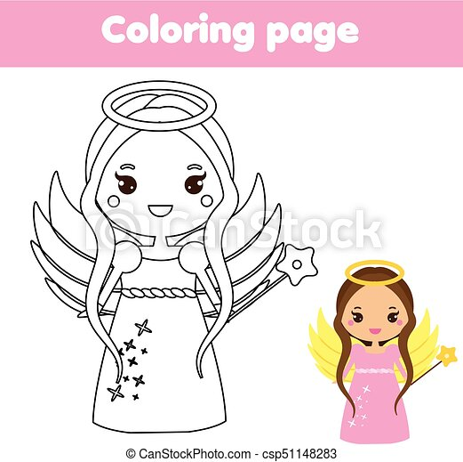 Coloring Page With Cute Angel Character In Kawaii Style Drawing Kids Game Printable Activity Coloring Page With Cute Angel Canstock