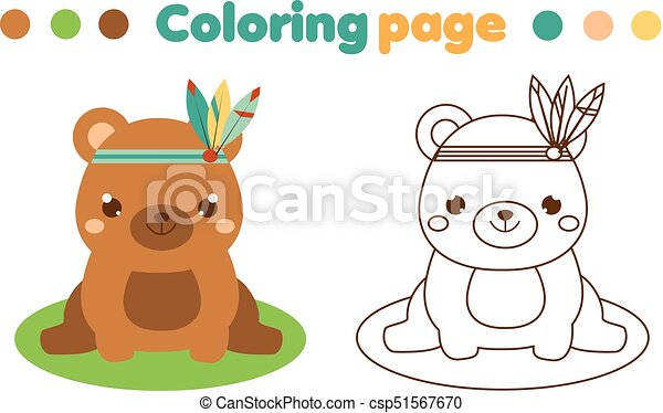 Coloring Page With Cute Boho Bear Drawing Kids Game Printable Activity Coloring Page With Cute Boho Bear Color The Canstock