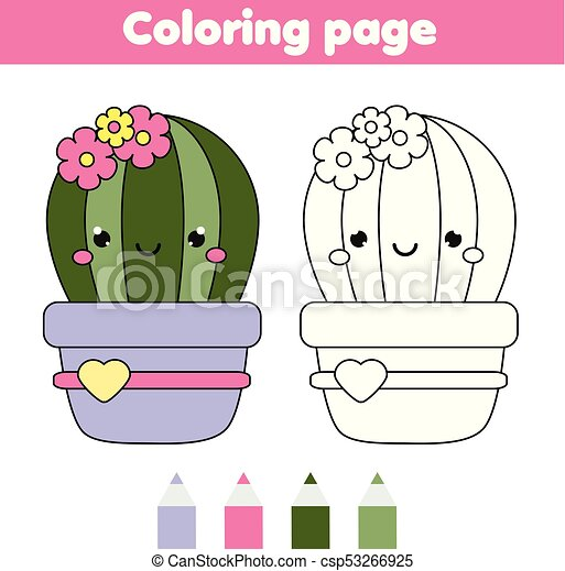 Coloring Page With Cute Cactus Drawing Kids Game Printable