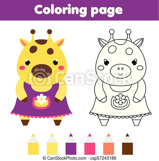 picture about Printable Activities for Toddlers known as Coloring site with lovely giraffe. Drawing small children recreation. Printable infants entertaining