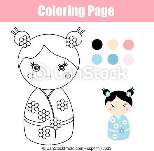 Coloring page with cute japanese kokeshi doll. children educational ...