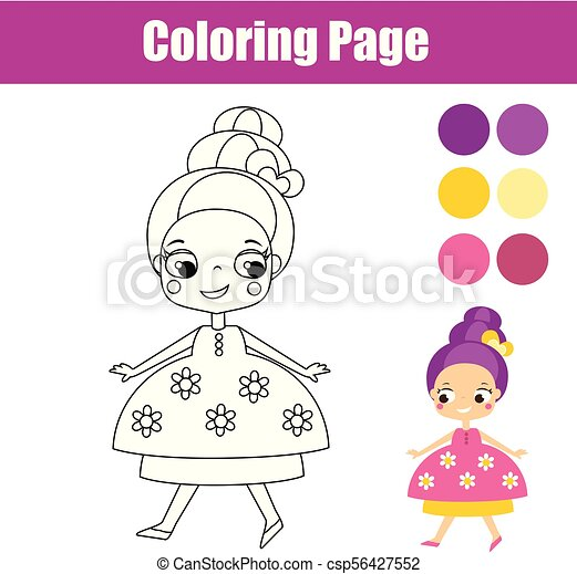Coloring Page With Cute Princess. Educational Game For Children. Children  Educational Game. Coloring Page With Cute Princess CanStock