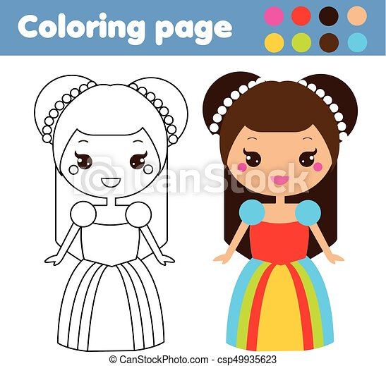 Coloring Page With Cute Princess In Kawaii Style Color The Picture Educational Children Game Drawing Kids Activity Printable Sheet