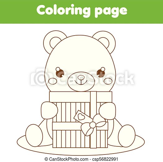 Coloring page with cute teddy bear holding gift. drawing kids ...