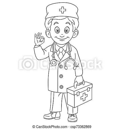 Coloring Page With Doctor, Young Doc. Colouring Page. Cute Cartoon Doctor  With First Aid Kit. Childish Design For Kids CanStock