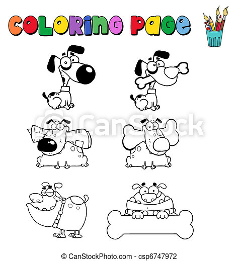 Coloring page with dogs - csp6747972