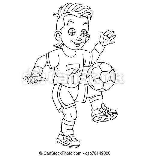 Coloring Page With Football Player. Colouring Page. Cute Cartoon  Footballer, Young Boy Playing Football. Childish Design For