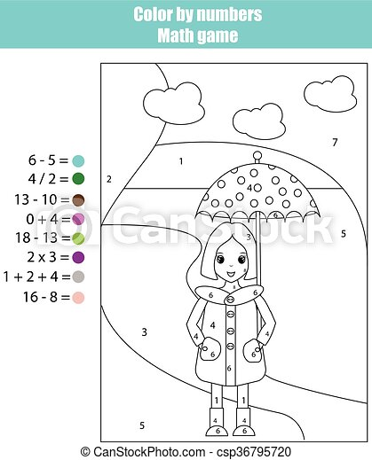 Coloring page with girl. Color by numbers math game - csp36795720