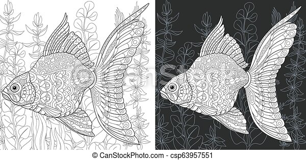 Coloring page with gold fish - csp63957551