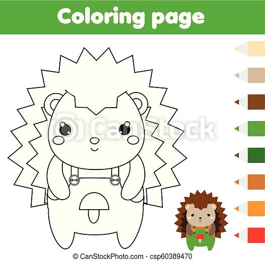 Coloring Page With Hedgehog. Drawing Kids Activity. Printable Toddlers Fun. Coloring  Page With Hedgehog. Drawing Kids CanStock