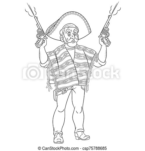coloring page with mexican bandit or gangster - csp75788685