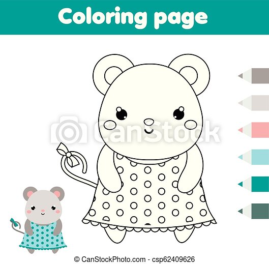 photo relating to Printable Activities for Toddlers known as Coloring web page with mouse. Drawing small children match. Printable infants enjoyment
