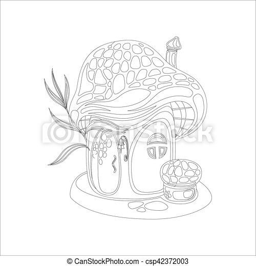 Coloring Page With Mushroom House