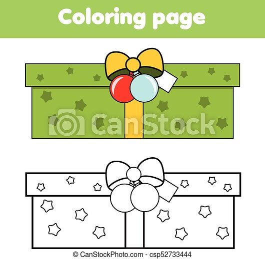 Christmas Ideas For Kids Drawing.Coloring Page With New Year Gift Box Drawing Kids Game Printable Activity Christmas Theme