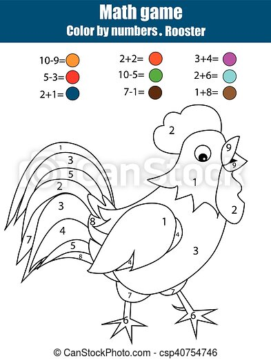 Coloring page with rooster. Color by numbers, mathematics educational game, worksheet - csp40754746