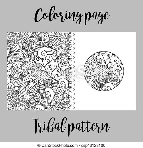 Coloring Page With Tribal Pattern Coloring Page Design For Print
