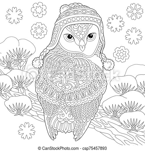 Coloring Page With Winter Owl Coloring Page Colouring Picture With Winter Owl Line Art Sketch Design With Doodle And Canstock