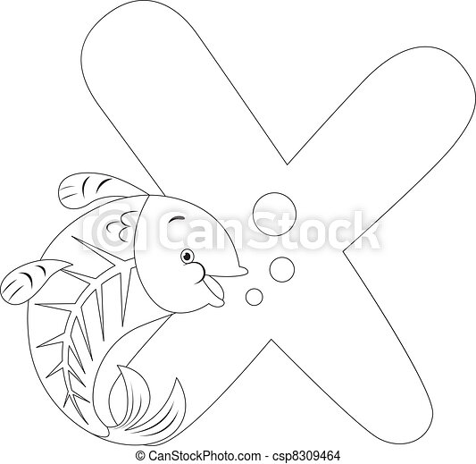 Coloring Page X Ray Fish Coloring Page Illustration