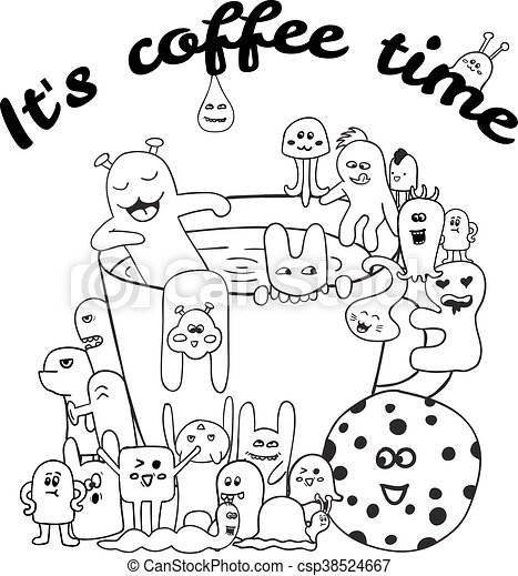 Coloring Pages For Adults Book Black And White Hipster Hand Drawn Coffee Lettering Monster Background