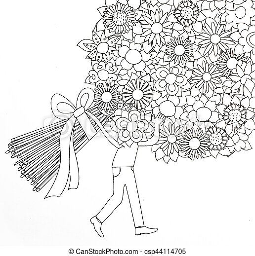 Coloring Pages For Adults Boy And Flowers
