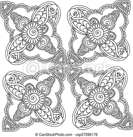 Abstract Flower Coloring Pages - GetColoringPages.com | 464x450