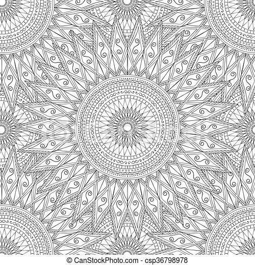 Coloring pages for adults.Decorative hand drawn doodle nature ornamental curl vector sketchy seamless pattern. - csp36798978