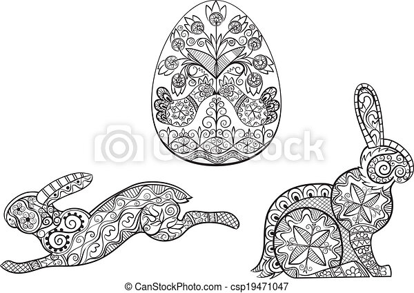 Coloring pages symbols of Easter egg hare rabbit - csp19471047