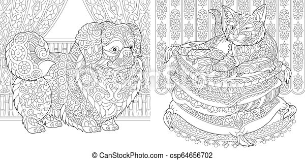 Coloring pages with cat and dog. Zentangle coloring pages for adult ...