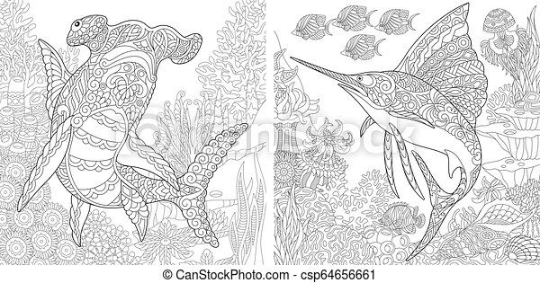 Coloring pages with hammerhead shark and sailfish. Zentangle ...