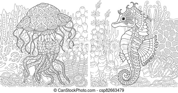 Coloring Pages With Jellyfish And Seahorse Coloring Pages Underwater Landscape With Jellyfish And Seahorse Line Art Design Canstock
