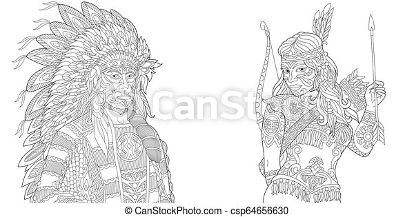 Indian Coloring Pages Native American Page Tattoo 256697 ... | 241x450