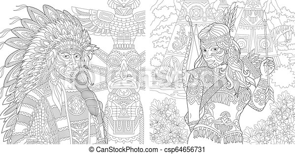 Native American Designs Coloring Pages | Native American on Horse ... | 241x450
