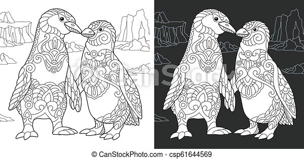 Coloring pages with penguin couple