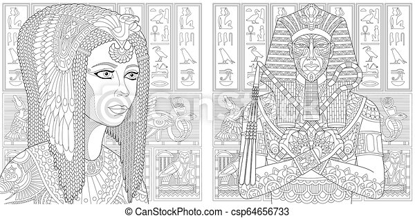 Coloring pages with pharaoh and cleopatra queen. Zentangle coloring ...