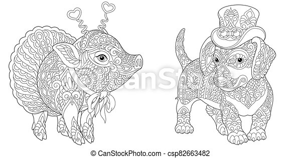 Coloring Pages With Pig And Dachshund Dog Coloring Pages Hipster Animals Dachshund Dog And Cute Pig In Ballet Skirt Line Canstock