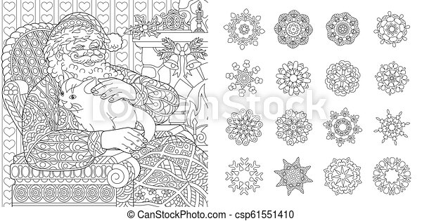 Christmas Ornaments Zentangle Coloring Page by Pamela Kennedy | TpT | 241x450