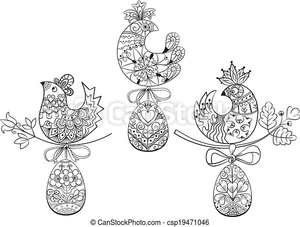 Coloring pages with symbols of Easter chick egg - csp19471046
