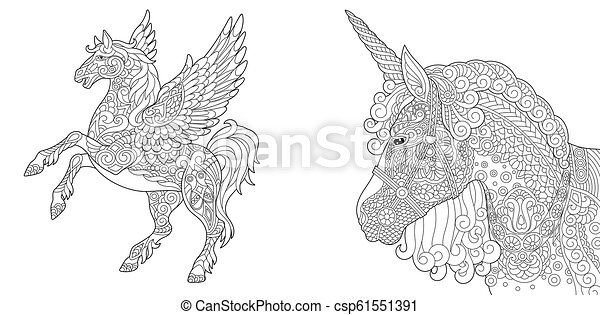 Coloring pages with unicorn and pegasus - csp61551391