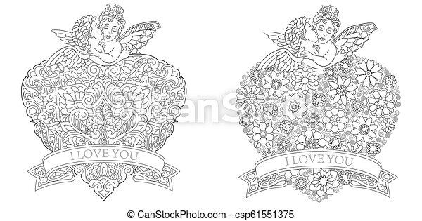 Lollipop zentangle coloring page | Heart coloring pages, Line art ... | 241x450