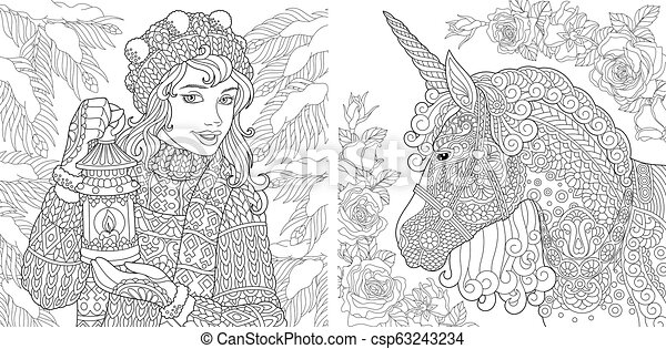 Little Dove coloring pages for adults pretty girl coloring | Etsy | 241x450